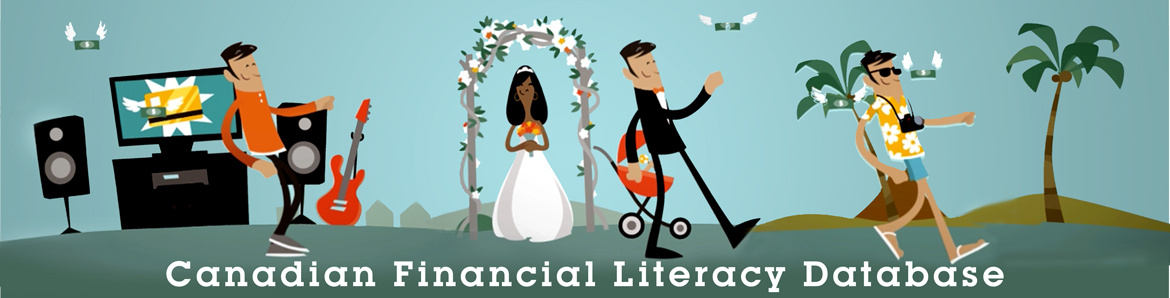 Promotional image for the Canadian Financial Literacy Database that shows different financial stages in a Canadian's life
